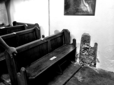 Two pews which proved a little harder to remove due to being rendered to the wall!