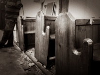 The pews are all out ready for collection by their new owners.