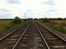 Looking South crossing the tracks when heading to Swinderby