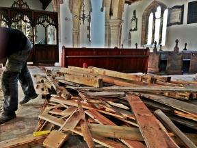 The floorboards pile up.