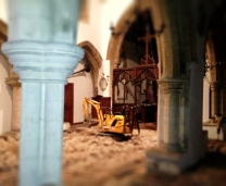 South aisle arch with vamping horn and mini-digger.