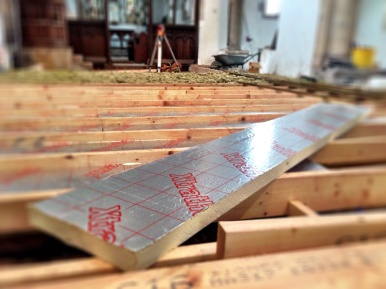 Xtratherm insulating board to be fitted between the joists.