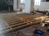 Floor joists in the nave.