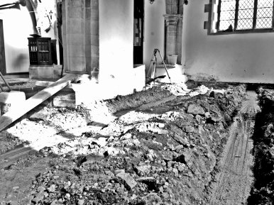 South Aisle - foundations four and five ready for their walls.