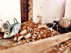Hard to believe but there is still more rubble to remove. At least it's only a short trip to the door.