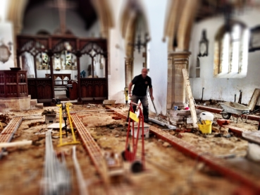 An overview from of the Nave and South Aisle from the font at the end of Week Three.