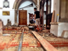 David & Will bricklaying at the pulpit.