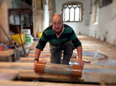 Timecapsule going under the floor in the South Aisle