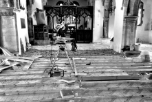 The final pieces of insulation board going into place in the Nave