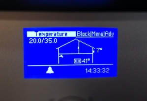 Water temperature rises as the system gets going. The water has reached 41C and the outside temperature is 7C.